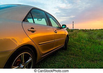 voiture luxe, coucher soleil, rear-side, vue