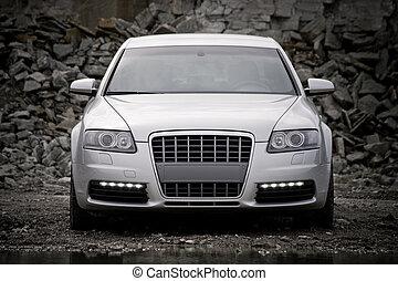 voiture, luxe, top-front, vue