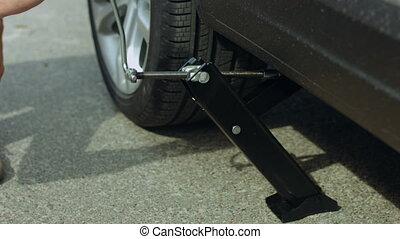 voiture, main, clé, mâle, jack-screw, levage