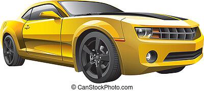 voiture, muscle, jaune
