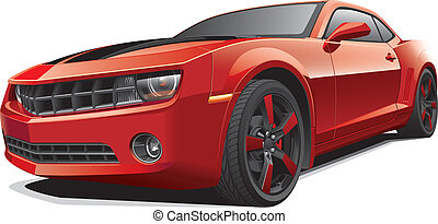 voiture, muscle, rouges