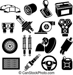 voiture, noir, service, icônes