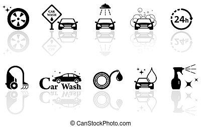 voiture, objets, ensemble, isolé, laver