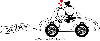 voiture, palefrenier, isolé, mariée
