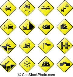 voiture, panneaux signalisations