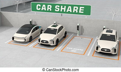 voiture, partage, concept