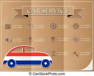 voiture, pays-bas, illustration, vecteur, drapeau, fait, service