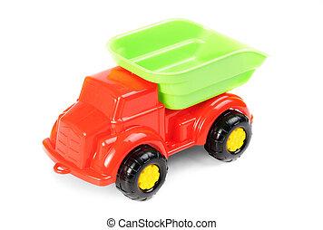 voiture, plastique, fond, isolé, jouet, blanc