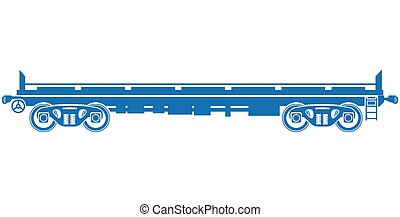 voiture, -, plate-forme, vecteur, fret, ferroviaire, ouvert