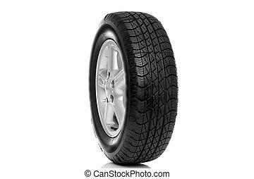 voiture, pneu, alliage, fond, isolé, rayon, (tire), cinq, photo, roue, blanc