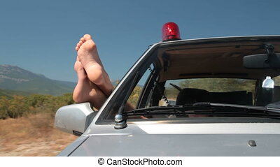 voiture, police, été