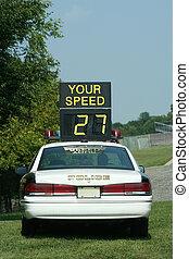 voiture, police, chèque, vitesse