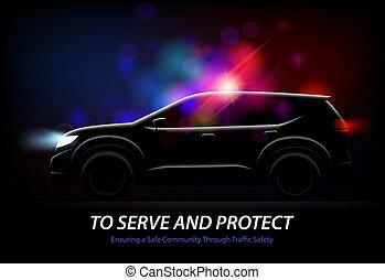 voiture, police, fond, lumières