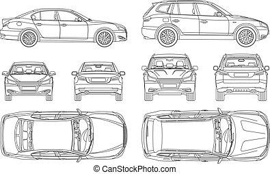 voiture, quatre, dessiner, assurance, abîmer, vue, dos, tout, côté, sommet, formulaire, ligne, plan, rapport, condition, loyer, sedan, suv