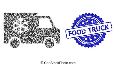 voiture, recursive, icône, textured, cachet, timbre, camion, composition, réfrigérateur, nourriture