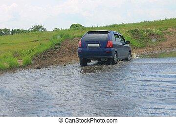 voiture, rivière, mouvements, ford