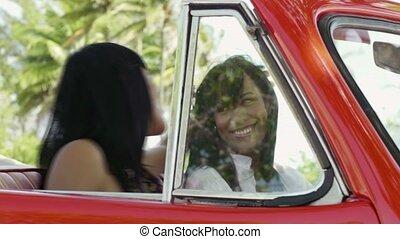 voiture, rouges, jumeau, soeurs, beau