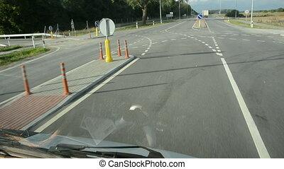 voiture, route, asphalte, virage
