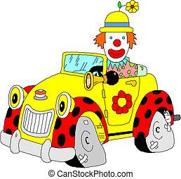 voiture, sien, clown
