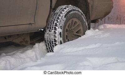 voiture, snowdrift., calé