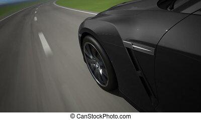 voiture, sport, en mouvement, route, noir