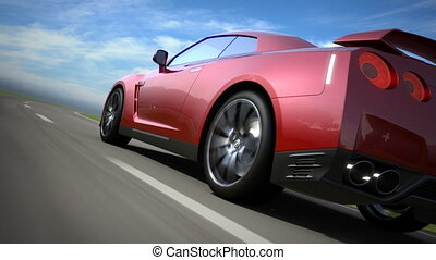 voiture, sport, en mouvement, route rouge