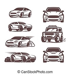 voiture, sport, icônes, ensemble, sedan, 4x4, suv