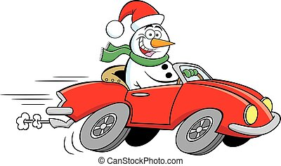 voiture., sports, dessin animé, conduite, heureux, bonhomme de neige