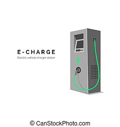 voiture., station chargeant, électrique, arrière-plan vert, concept., ou, vecteur, illustrationisolated, blanc, eco, énergie, e-charge.