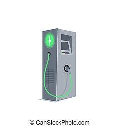 voiture., station chargeant, vert, concept., ou, vecteur, électrique, eco, énergie, e-charge.