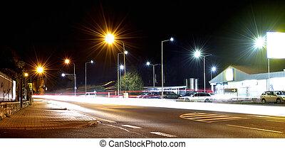 voiture, stationnement, exposition, ville, route, lumières, long, nuit