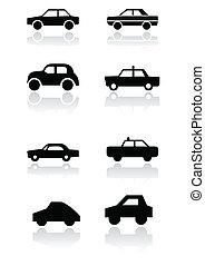 voiture, symbole, vecteur, set.