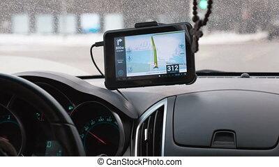 voiture, tableau bord, appareil, sur, gps, conduite