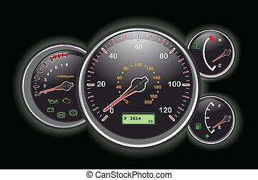voiture, tableau bord, compteur vitesse