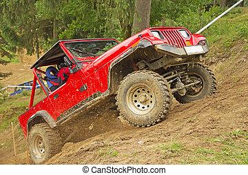 voiture, terrain, rouges