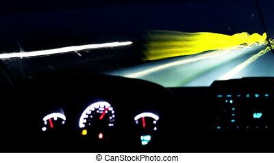 voiture, timelapse, route, conduite, nuit