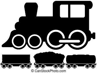 voiture, train, isolé, locomotive