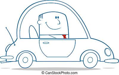 voiture, travail, conduite, homme affaires