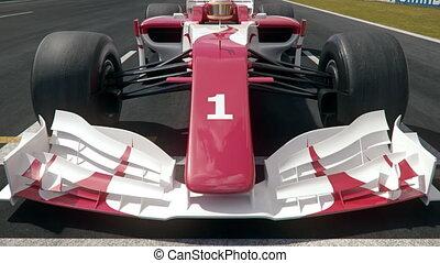 voiture, une, poteau, course, formule, position, commencer