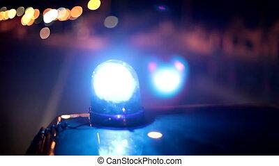 voiture, urgence, lumière bleue, police