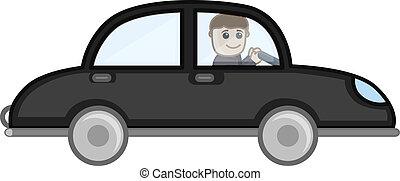 voiture, vecteur, dessin animé, conduite, homme