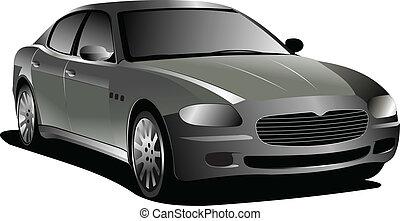voiture., vecteur, gris, sedan., illustration