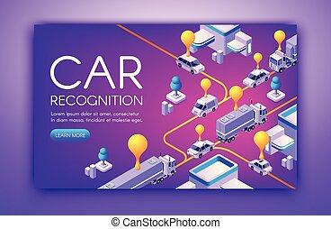 voiture, vecteur, technologie, reconnaissance, illustration