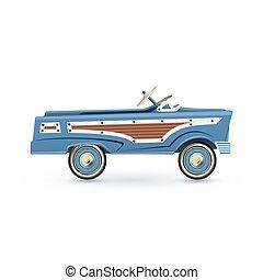 voiture., vendange, vieux jouet, pédale, bleu