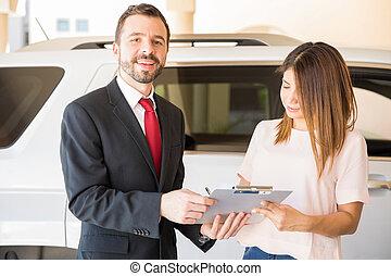 voiture, vente, vendeur, séduisant, nouveau