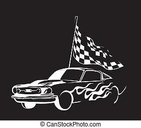 voiture, vieux, course