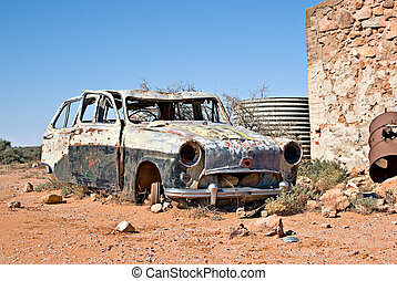 voiture, vieux, désert