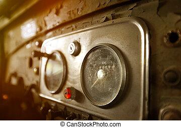 voiture, vieux, tableau bord