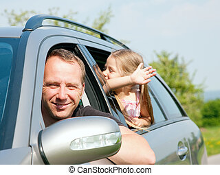 voiture, voyager, famille