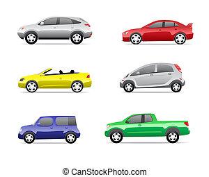 voitures, 3, partie, ensemble, icônes